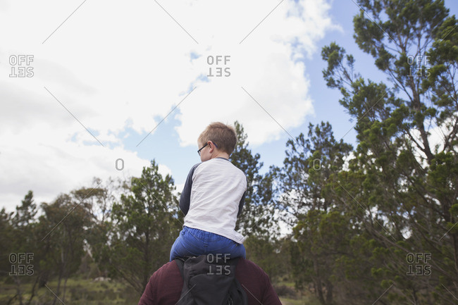 Boy riding man's shoulders in country