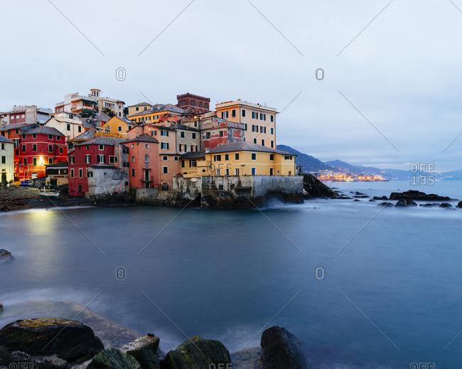 Buildings along the coastline of Genoa, Italy