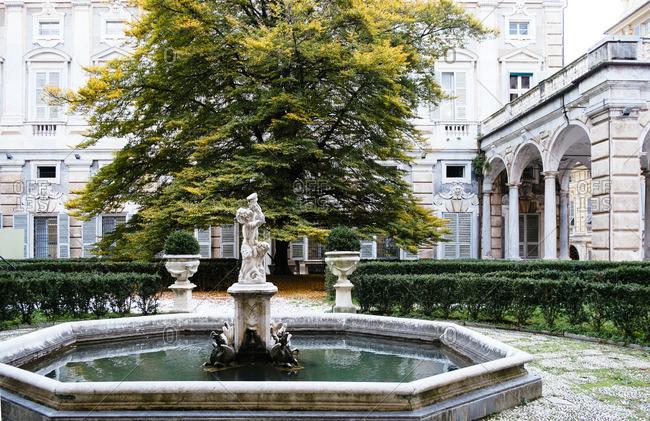 Fountain at the Palazzo Bianca in Genoa, Italy