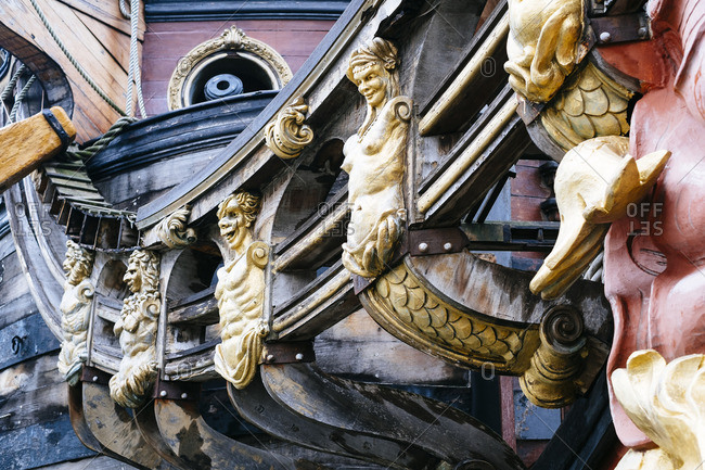 Close-up of ship detail in Geon, Italy