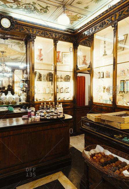 Genoa, Italy - November 26, 2014: The Romanengo candy shop interior in Genoa, Italy