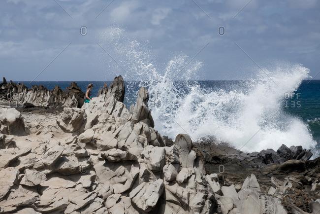 Dragon's Teeth rock formation at Makaluapuna Point, Kapalua, Maui, Hawaii