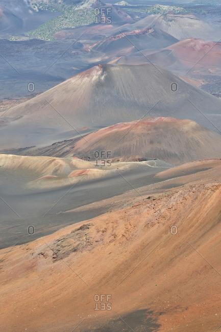The volcanic landscape of Haleakala National Park, Maui, Hawaii