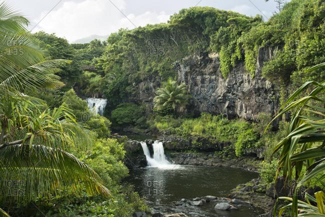 Waterfalls of the 'Ohe'o Gulch (sacred pools) in the Kipahulu area of Haleakala National Park, Maui, Hawaii