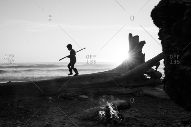 Child balancing on fallen tree on beach with campfire