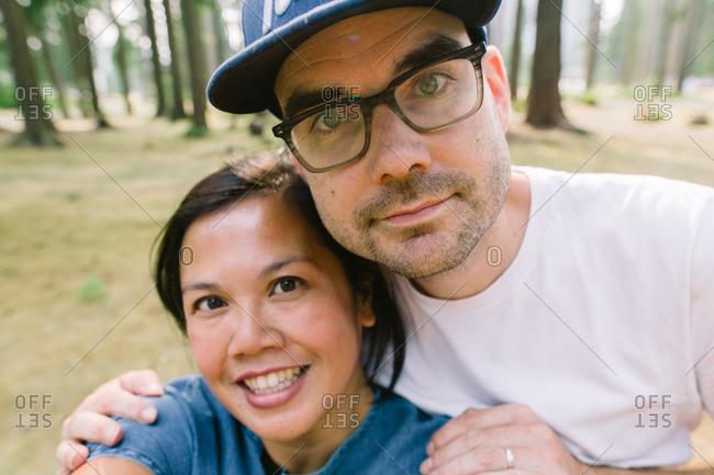 Selfie of an interracial couple