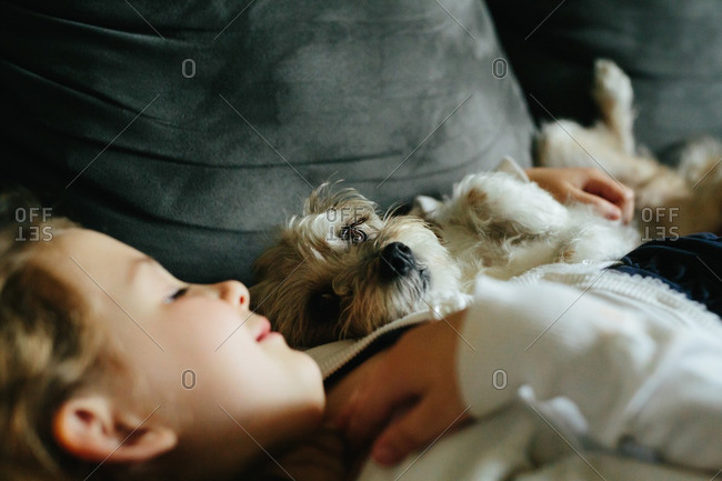 Little girl lying on a sofa with her dog