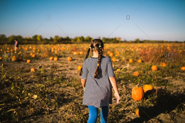 Girl walking in a pumpkin patch
