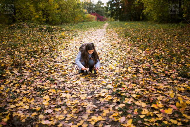 Girl picking up fallen leaves on a country path