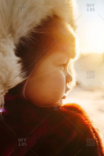 Portrait of baby boy in winter coat