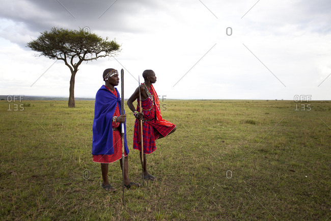 Maasai Mara, Kenya - June 10, 2014: Maasai warriors standing in Mara, Kenya