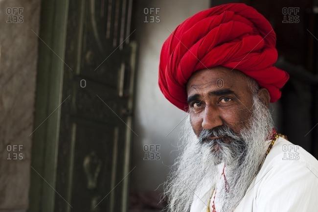 Jawai, Rajasthan, India - April 27, 2015: Close-up of a Rabari Bupa, Jawai, Rajasthan, India