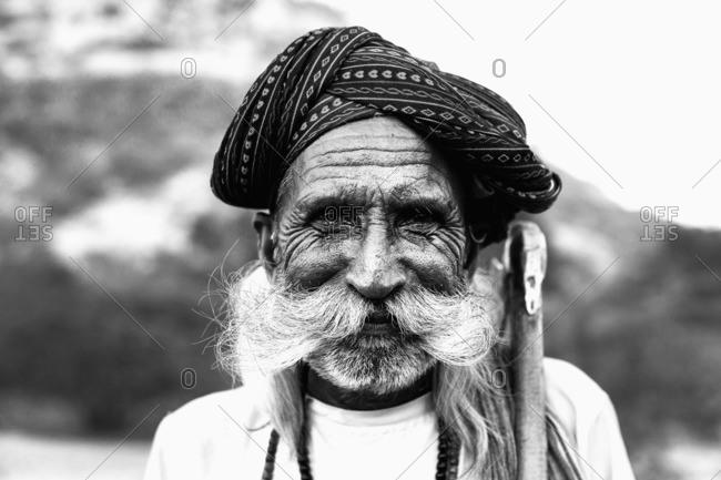 Jawai, Rajasthan, India - November 22, 2014: Close-up of a Rabari, Jawai, Rajasthan, India