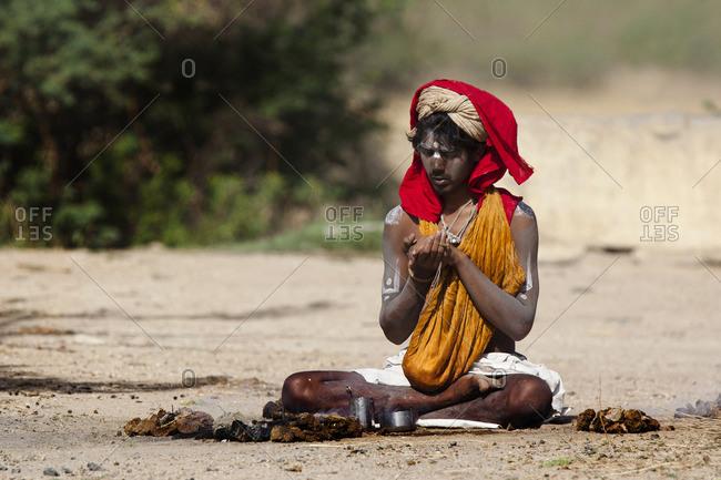 Jawai, Rajasthan, India - April 25, 2014: A Sadhu in meditation, Jawai, Rajasthan, India