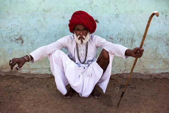 Jawai, Rajasthan, India - April 29, 2015: Rabari looking at the camera, Jawai, Rajasthan, India