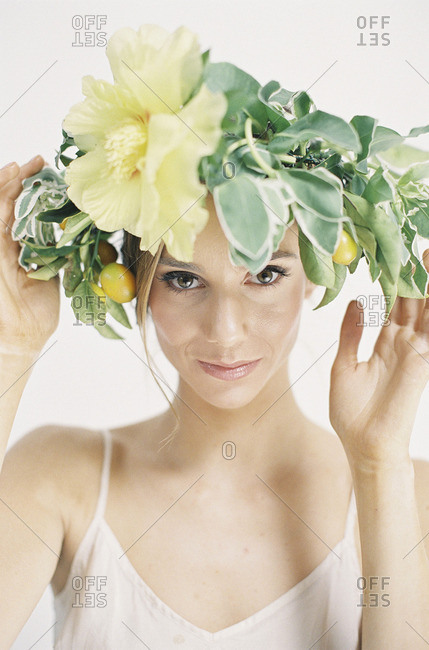 Woman wearing floral crown