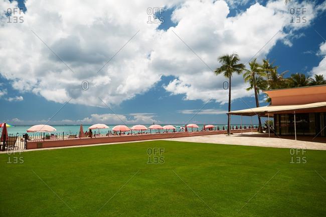 Green lawn at oceanfront resort