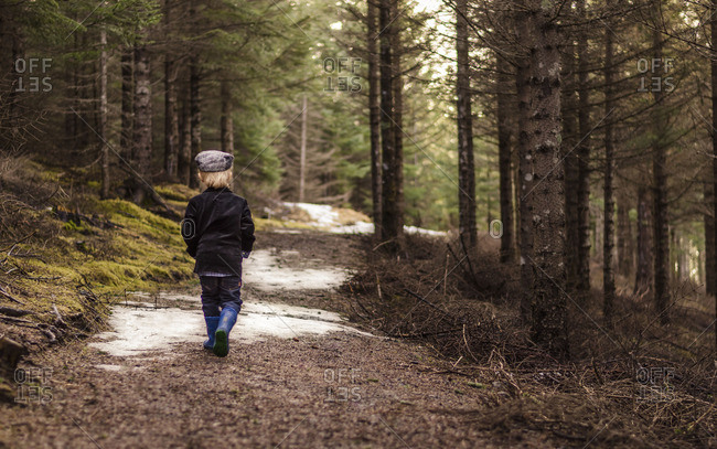 Boy walking away on a trail in the woods