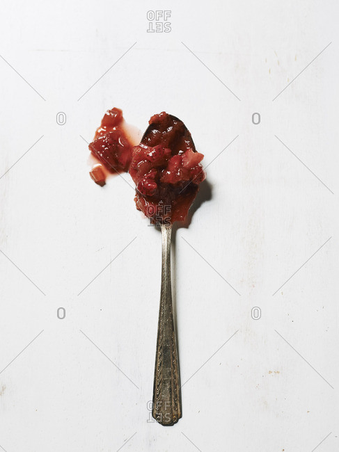 Spoonful of strawberry rhubarb preserves
