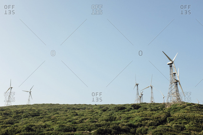Wind turbines on a hillside in Spain