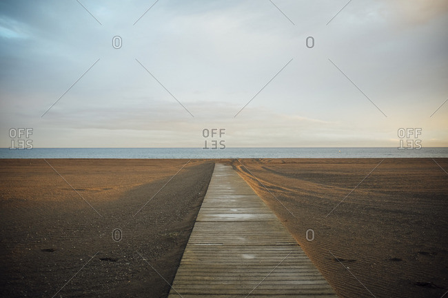 Wooden boardwalk leading to the beach