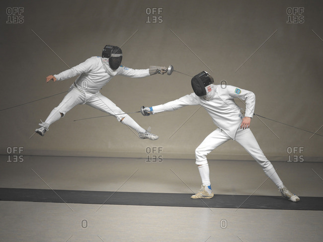 October 12, 2015: Two fencers fighting
