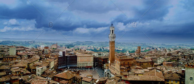 Aerial view over Siena in Italy