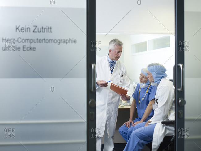 July 10, 2015: Medical staff discussing a diagnosis