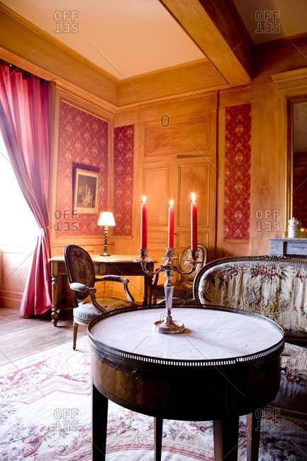 Red Salon of Chateau de Pramenoux