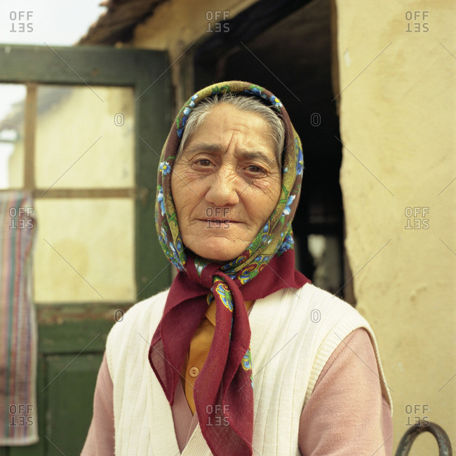October 12, 2015: Portrait of an senior woman in Romania