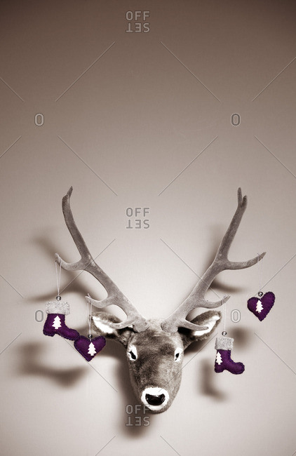 Artificial deer head as christmas decoration