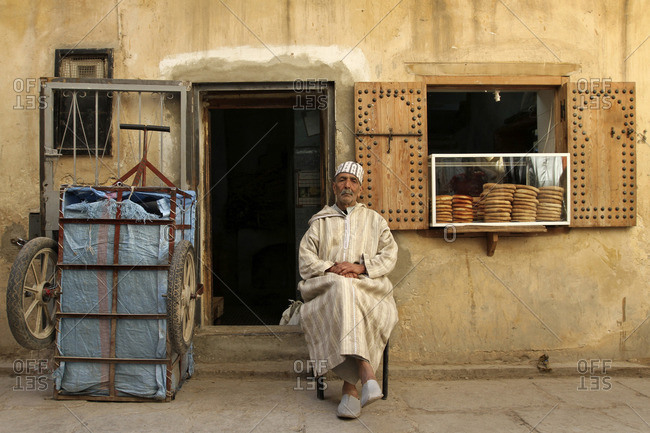 May 7, 2015: Baker in front of his bakery in Morocco