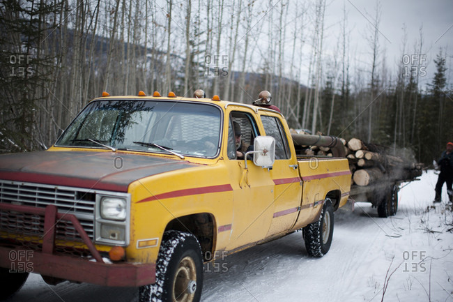 Sunnydale, Yukon Territory, Canada - October 25, 2014: A load of firewood is delivered in Sunnydale, Yukon Territory