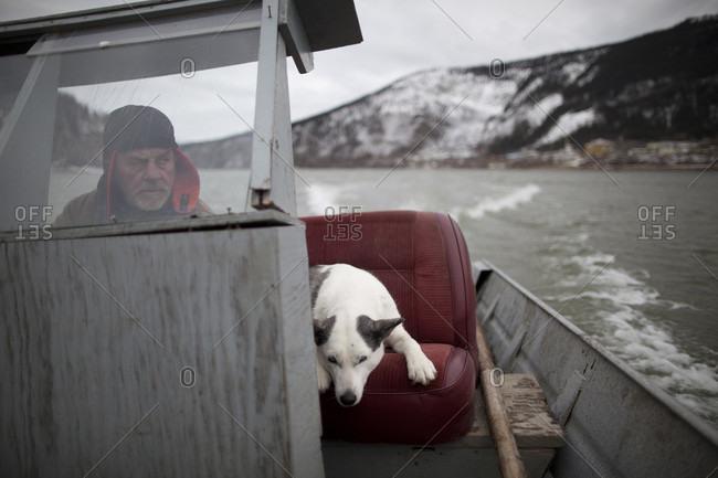 Yukon River, Yukon Territory, Canada - October 13, 2014: Cor Guimond travels the Yukon River in Yukon Territory
