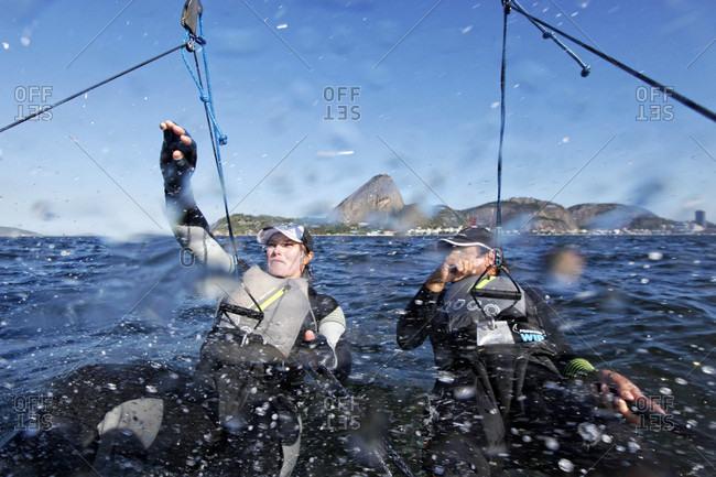Rio de Janeiro, Brazil - August 13, 2015: Rio de Janeiro Olympic Test Event - Federation Francaise de Voile. Nacra17, Billy Besson, Marie Riou