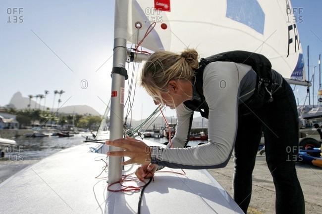 Rio de Janeiro, Brazil - August 11, 2015: Rio de Janeiro Olympic Test Event - Federation Francaise de Voile. Laser Radial, Mathilde De Kerangat