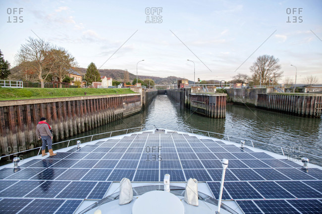 Rouen, Seine-Maritime, France - November 18, 2015: Trip on the Seine river with the Planet Solar yacht between Rouen and the D'Amfreville lock.