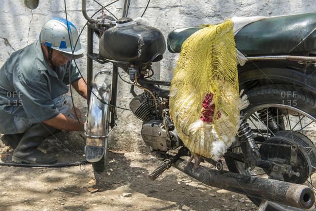 Santa Clara, Villa Clara, Cuba - May 3, 2014: A man fills his motorcycle tire with air. A live chicken hangs from the seat on a yellow mesh bag. Santa Clara, Villa Clara, Cuba