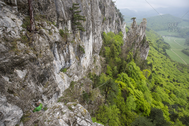 Peilstein, Austria - May 2, 2015: Highline Session in Austria at Peilstein. The connection between the anchors is build by a drone