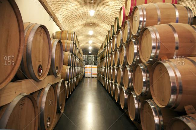 Ribera del Duero, Spain - September 21, 2015: Wine cellar at Ribera del Duero in Spain