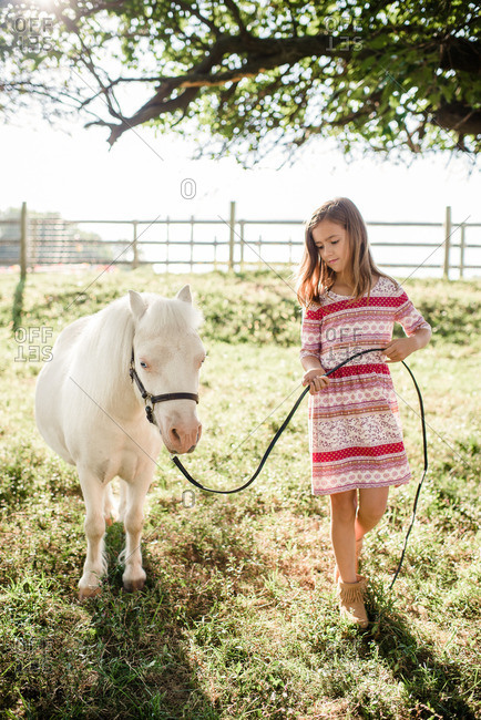 Young girl walking with a white pony on a farm