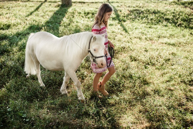 Young girl walking with a white pony in a field