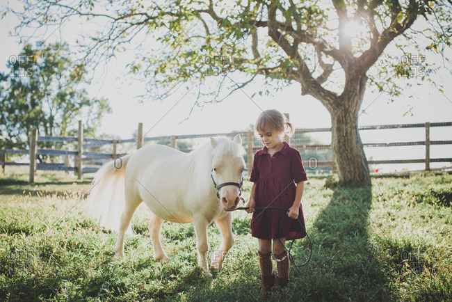 Little girl walking with a small white pony in a pasture