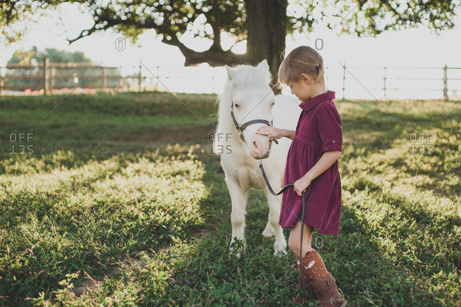 Little girl petting a white pony on a farm