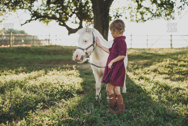 Little girl petting a white pony in a pasture