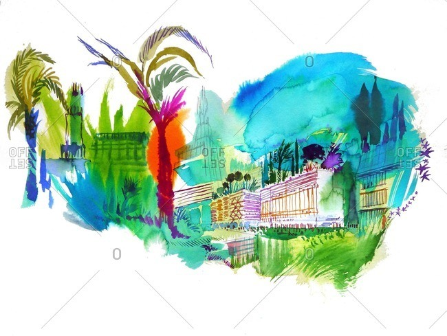Colorful city with buildings and trees