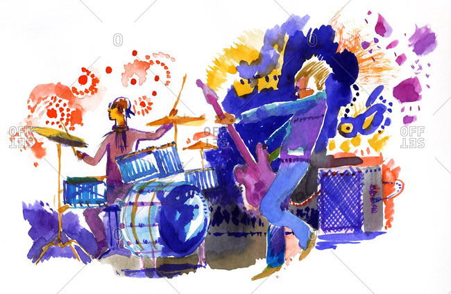 Musicians playing drums and electric guitar at a rock festival