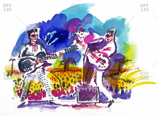 Musicians playing electric guitars at a summer rock concert