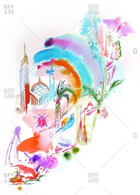 Colorful wonderland with trees, insects and towers