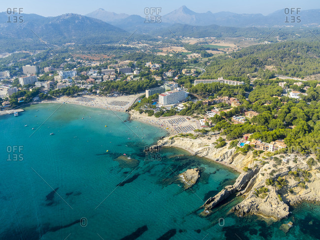 Spain- Mallorca- Aerial view of Peguera bay